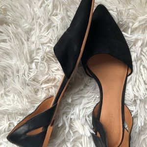 Madewell suede black pointed toe flats D'orsay